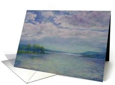 This  lovely lake view is from Otesaga Hotel,   Cooperstown, NY, Skyscape With Sparkling Lake View Landscape is painted with egg tempera, an ancient medium  card (240993)