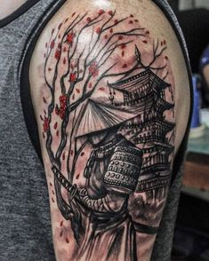 "280 Likes, 5 Comments - Wesly Fernández Parajeles (@weslytattoos) on Instagram: ""Samurai, tree and temple / Samurái, árbol y templo #samurai #samuraitattoo #cherryblossom #temple…"""