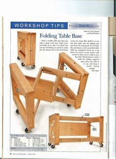 Folding Garage / Work Table : nice space saving idea for sorting table this coul. Folding Garage / Work Table : nice space saving idea for sorting table this could work for a booth Woodworking Shop, Woodworking Plans, Woodworking Projects, Woodworking Videos, Woodworking Classes, Woodworking Techniques, Woodworking Furniture, Woodworking Square, Tool Storage
