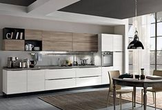 Fabulous Modern Kitchen Sets On Simplicity , Efficiency And Elegance Tips & Guide 27 - homemisuwur One Wall Kitchen, Kitchen Room Design, Kitchen Cabinet Design, Modern Kitchen Design, Kitchen Colors, Home Decor Kitchen, Interior Design Kitchen, Home Kitchens, Kitchen White
