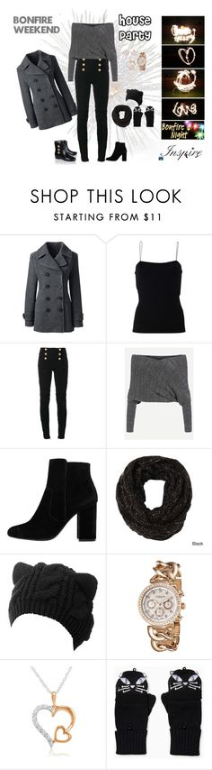 """Bonfire Weekend House Party"" by fashion-ally-late ❤ liked on Polyvore featuring Lands' End, T By Alexander Wang, Balmain, MANGO, LA77, Akribos XXIV, Amanda Rose Collection, Kate Spade and Pamela Love"
