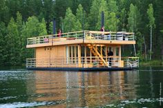Unique floating sauna-ship with spacious living room and panoramic views, an open terrace with grill is moored just in 1 hour drive from the Helsinki in the Loppi area. Experienced captain can organize a sauna-cruise on the lake, and the cook will agree menu with you. It is also possible to bring your own food and take short instruction from the captain how to use this floating sauna by your own.