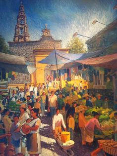 His first painting in 2015 - see him sitting in front of this work before it was completed - www. Art by Efren Gonzalez of Ajijic inside his art gallery of the same name Mexican Paintings, South Of The Border, Mexican Folk Art, Artist Painting, Art Gallery, Clay, Artists, Album, Fine Art