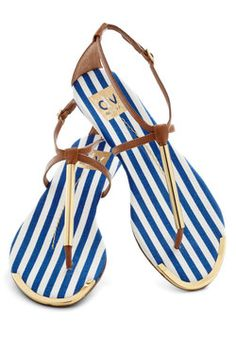 I'm more of a fall/winter enthusiast. But you can never go wrong with strappy sandals. A Yacht to Talk About Sandal in Mast, #ModCloth $64.99
