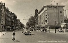 1950's. Linnaeusstraat in Amsterdam. On the right department store the Hema. #amsterdam #1950 #Linnaeusstraat