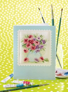 Wonderful watercolours: Inspired by watercolour painting, Lesley Teare's posy is pretty pastel stitch on page 42 of the October 241 issue of CSC: www.crossstitchcollection.com/find-us
