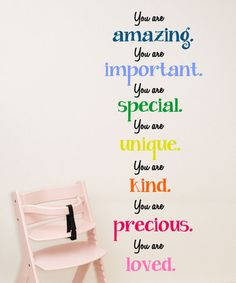 Another great find on #zulily! 'You Are Amazing Important Special' Wall Decal by DecorDesigns #zulilyfinds
