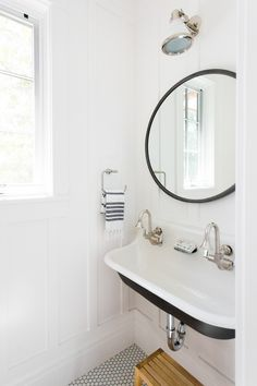 Powder Room   Tiles, Wall Panels, Black U0026 White Details. Love The Sink