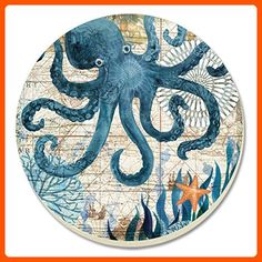 CounterArt Monterey Bay Octopus Absorbent Coasters, Set of 4 - Bar equipment (*Amazon Partner-Link)
