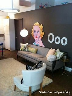 living room space with Marilyn pic- Southern Hospitality