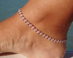Red anklet Red Daisy Chain Ankle Bracelet Bronze Seed Bead