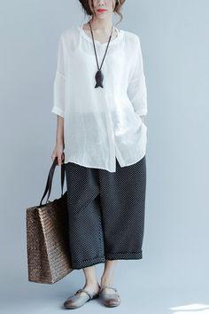 Casual Loose Round-neck Linen Shirt Women Clothes