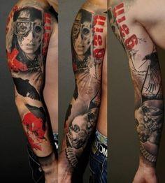 Gain Lettering and Face Trash Polka tattoo sleeve Trash Polka Tattoo, Tattoo Trash, Club Tattoo, 1 Tattoo, Tatoo Art, Sketch Tattoo, Red Tattoos, Body Art Tattoos, Cool Tattoos