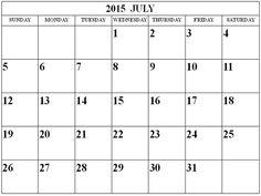 month calendar 2015 template