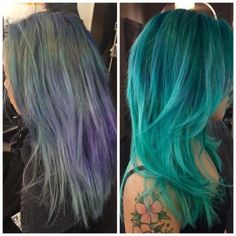 """""""My client came to me wanting to be a new fun color,"""" says Meri Kate O'Connor (@merikateoconnor), Senior Colorist at Eva Scrivo Salons (@evascrivosalons) & Educator at the Eva Scrivo Advanced Academy, NYC. """"She is a natural level 2, Asian hair, and had 1 1/2 inches of re-growth. Beyond the re-growth, her hair was bleached and dyed all different shades of blue and green."""