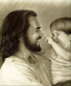 Jesus Christ says we must become like little children to enter His Kingdom. This drawing is so precious. Love seems to radiate from the picture. - I hope you know and love Jesus this way all your life little Judah! Image Jesus, Padre Celestial, Lds Art, Jesus Christus, Jesus Pictures, Lds Jesus Christ Pictures, Lds Pictures, Jesus Pics, My Jesus