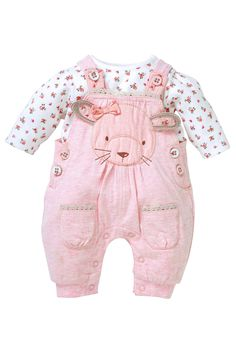 Buy Pink Marl Bunny Dungaree And Bodysuit Two Piece Set (0-18mths) from the Next UK online shop