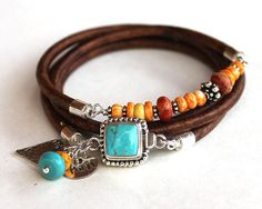 Personalized Turquoise silver bracelet leather turquoise coral spiny oyster wrap bracelet bangle
