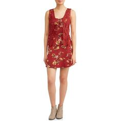 No Boundaries Juniors' floral lace up dress with crochet vest Girl's, Size: XXL, Red Floral Lace, Lace Up, Floral Prints, Vest, Crochet, Walmart, Medium, Dresses, Products