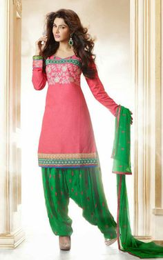 ORANGE & GREEN CAMBRIC COTTON SALWAR KAMEEZ - PAT 7003