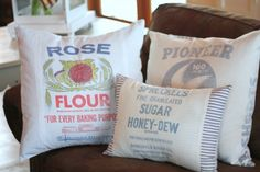 Pillows made from old flour or sugar cloth bags; so cool