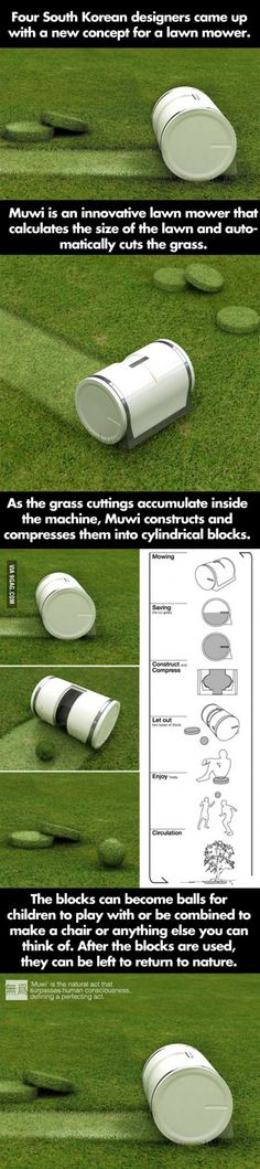 Cool invention from South Korean designers - Best lawn mower ever!