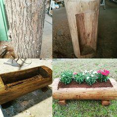 Realizzazione di una fioriera, con un tronco di rovere