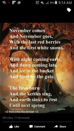 "November - Winter Solstice: ""November,"" by Clyde Watson. November - Winter Solstice: November, by Clyde Watson. Seasons Of The Year, Months In A Year, 12 Months, Autumn Day, Autumn Leaves, Autumn Poem, Late Autumn, Autumn Harvest, Autumnal Equinox"
