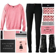pink by hanadarkos on Polyvore featuring H&M, Gucci, The WhitePepper, Acne Studios, Alexander McQueen, NIKE, NARS Cosmetics, Sephora Collection, Oribe and CASSETTE