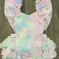 Unicorn girls romper,pastel rainbow romper, cake smash,unicorn outfit,unicorn romper ,baby girls birthday unicorn,baby girl pastel - Thumbnail 1