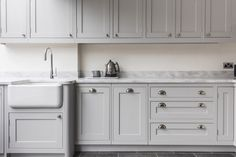 A timeless classic: our bespoke in-frame Shaker cabinetry in Pavillion Grey by Farrow & Ball Farrow And Ball Kitchen, Kitchen Color Trends, Cosy Interior, Grey Kitchen Cabinets, Shaker Kitchen, Farrow Ball, Updated Kitchen, Timeless Classic, Cyprus