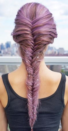 Purple star-studded fishtail braid with L'Oreal Paris Feria Smokey Pastels in Smokey Lavender.