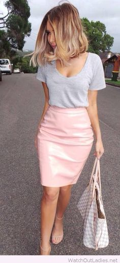 Light pink skirt and grey tee