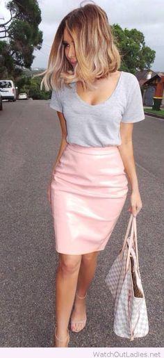 Light pink skirt and grey tee