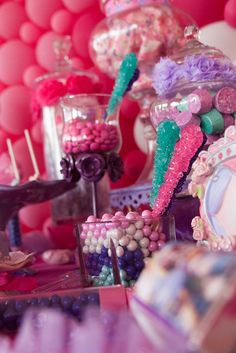 """Cute way to display lollipop or rock candy """"wand"""" favors. in a jar or cup filled with chocolate pearl candy or one color of m&ms? Diva Birthday Parties, Sofia The First Birthday Party, Girl Birthday Themes, Frozen Birthday Party, 3rd Birthday, Birthday Ideas, Mouse Parties, Princess Sofia Party, Disney Princess Party"""