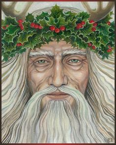 The Holly King rules in the winter, starting at the Autumn Equinox, becoming fully dominant at Yule.  Artist Emily Balivet