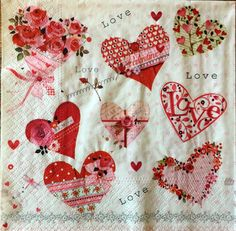 Decoupage Napkins, 4+1 FREE Single  Paper Napkins, LOVE, 13 inches (33cm) for Decoupage, Paper-Craft and Collage by kroshkame on Etsy