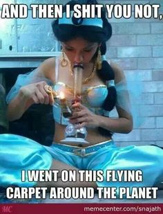 Funny humor aladdin jazmine jasmine disney princess cosplay bong drugs smoke trip magic carpet