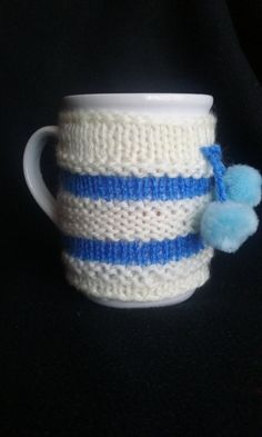 Blue Cup Sleeve Cup Cozy White Cup Cozy Mug Cozy by JsCreations05