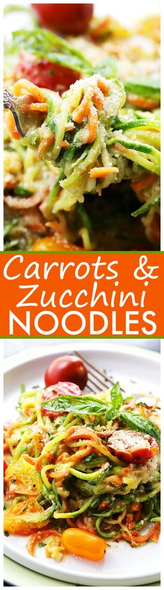 Carrot and Zucchini Noodles in Light Alfredo Sauce