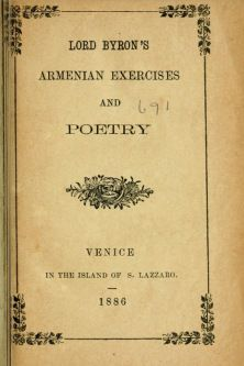 Lord Byron Armenian Exercises and Poetry 1886