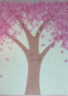 Tissue paper cherry blossom art project to do with your kids, use green, or red, orange or yellow leaves for fall