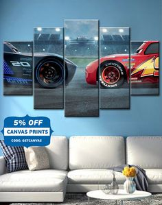 CARS 3 LIGHTNING MCQUEEN Movie Canvas Wall Art Cars