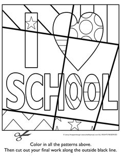 Back to school activity: Pattern filled and interactive school images with writing prompts.