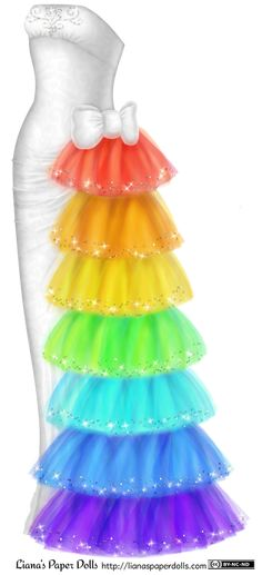 White Gown with Rainbow Tulle and Rhinestones -- full post and printable PDFs at my site http://lianaspaperdolls.com/2014/08/08/white-gown-with-rainbow-tulle-and-rhinestones/