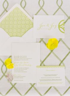 white and green wedding stationery