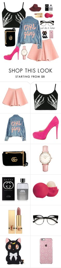 """Untitled #1"" by rizkaicaca ❤ liked on Polyvore featuring Marina Hoermanseder, Boohoo, High Heels Suicide, Brian Atwood, Gucci, Topshop, Eos, Yves Saint Laurent and Halogen"