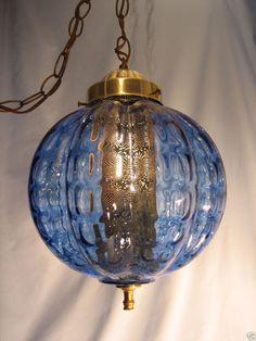 1960s Vintage Mid Century Modern Retro Hanging or Swag Lamp Light