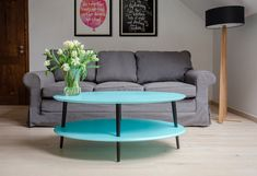 OVO brothers are coffee tables with an oval shape, designed and available in two versions - High and Low. Low Coffee Table, Laminated Mdf, Light Turquoise, Bold Colors, Minimalism, Grey Light, Dark Grey, Furniture, Decor Minimalist
