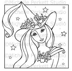 DIGITAL STAMP - Celeste the Good Halloween Witch